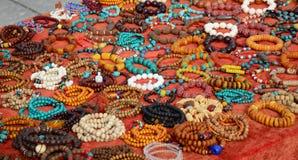 Colorful semiprecious stone bracelets for sale Stock Image