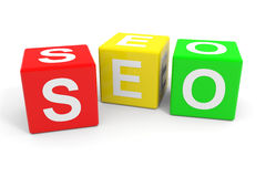 Colorful SEO cubes. Royalty Free Stock Image