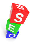 Colorful SEO cubes. Royalty Free Stock Photography