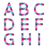Colorful sequins alphabet. Glitter letters. Stock Photo
