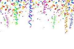 Colorful serpentine and confetti holiday background Royalty Free Stock Images