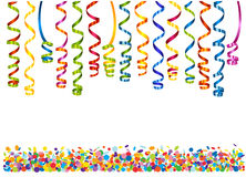 Colorful serpentine with confetti Stock Photo