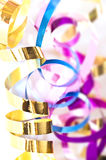 Colorful serpentine streamers. CLose up of colorful serpentine streamers stock image