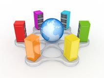 Colorful servers around globe. Isolated on white background.3d rendered Royalty Free Stock Images