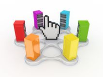 Colorful servers around large cursor. Royalty Free Stock Photo