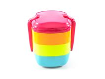 Colorful serving bowls. Colorful compact serving bowls with lid Stock Photography