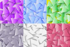 The colorful set of abstract polygonal geometric textures, triangle 3d backgrounds. Triangular mosaic background for web Royalty Free Stock Photography