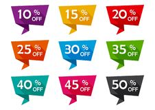Set of advertising tag ribbons with different discount offers. Vector illustration stock illustration