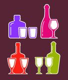 Colorful set with alcohol bottles and glasses Stock Photos
