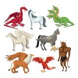 Colorful set animal greek mythological creatures. Vector illustration Stock Photos