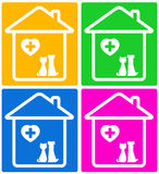 Set veterinary symbol with pet silhouette Stock Photo