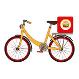 Colorful set with bicycle and box for fast food Stock Photo
