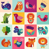 Colorful set. Big colorful set with lovely animals, birds and flowers Royalty Free Stock Photo