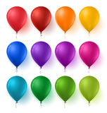 Colorful Set of Birthday Balloons with Glossy and Shiny Colors. 3d Realistic Colorful Set of Birthday Balloons with Glossy and Shiny Colors  in White Background Stock Photos