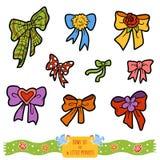 Colorful set of bows, vector cartoon collection Royalty Free Stock Photos
