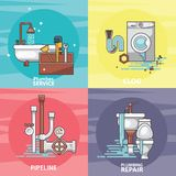 Colorful set of the broken home facilities, washbasin, toilet, cabin, washing machine, radiator, clog. Of pipes. Plumbing service. Isolated background vector illustration
