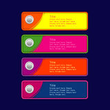 Colorful set buttons Yellow pink orange blue Stock Image