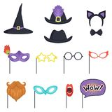 Colorful set with carnival masks and hats. Witch cap, glasses, beard, lips, speech bubble, cat ears and bow tie Royalty Free Stock Photography
