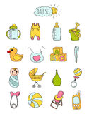Colorful set of children's icons in hand drawn style. Accessories, clothing and toys for newborns 2. Vector Stock Image