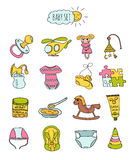 Colorful set of children's icons in hand drawn style. Accessories, clothing and toys for newborns. Vector Royalty Free Stock Photos