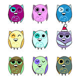 Colorful set Christmas owls Stock Images