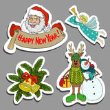 Colorful set of Christmas stickers, hand drawn cartoon Royalty Free Stock Images