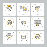 Colorful set of cinematic icons on gray. Square icons with cinematography theme showing filmstrip and equipment composed on gray background Stock Photography