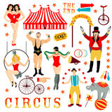 Colorful set with circus star Royalty Free Stock Photography