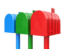 Colorful set of closed mailbox isolated Royalty Free Stock Image