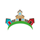 Colorful set collection farm and houses Stock Photos