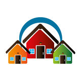 Colorful set collection houses icon design Royalty Free Stock Images