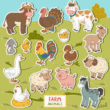 Colorful set of cute farm animals and objects, vector stickers