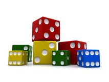 Colorful set of dices Royalty Free Stock Images