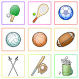 Colorful set of different characters playing sports in the form Royalty Free Stock Photography