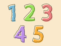 Colorful set of digits 12345 with a bloated shape Royalty Free Stock Photography