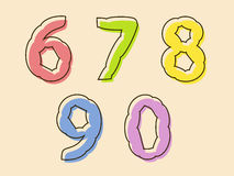 Colorful set of digits 67890 with a bloated shape Stock Image