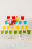 Colorful set of drinks, color drink decorated with fruit, many  Stock Photo