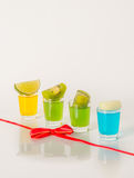 Colorful set of drinks, color drink decorated with limes, color Stock Images