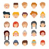 Colorful set of faces in flat design. Vector illustration of flat design people characters Royalty Free Stock Photos