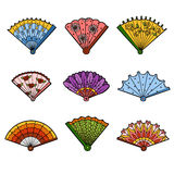 Colorful set of fans, vector cartoon collection. Colorful set of fans, color vector cartoon collection Stock Photography