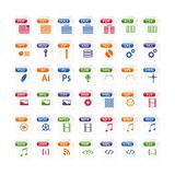 Colorful set of file type icons. file format icon set in color. Files symbols buttons Royalty Free Stock Images