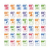 Colorful set of file type icons. file format icon set. In color, files symbols buttons, simple design Royalty Free Stock Photos