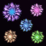 Colorful set firework on black background. Night sky with salute. For festival in vector. Blue, green, yellow and pink firework and explosion Stock Photo