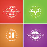Colorful set fitness logo. Fitness. Illustrations for design, poster and advertising with trainer Royalty Free Stock Images