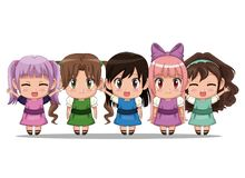 Colorful set five full body cute anime tennagers girls facial expression Royalty Free Stock Photo