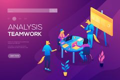 Collaboration concept with collaborative people. Colorful set in flat cartoon style. Collection of scenes at office vector illustration. Bundle of men and women stock illustration