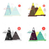 Colorful set of flat landscape. Nature, mountains, trees. Collection of vector illustration in flat style. Landscape, nature, mountains, trees, grunge Stock Image