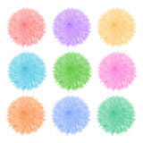 Colorful set with of fluffy balls. Pompom  on white background. Royalty Free Stock Image