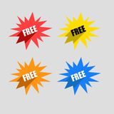 Colorful Set of Free Labels. With Long Shadow Stock Image