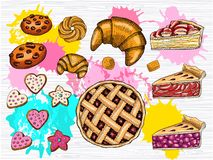Colorful set of fresh pastries. Hearts stars cookies, cake, homemade chocolate cookies, circle pie, croissant. vector illustration
